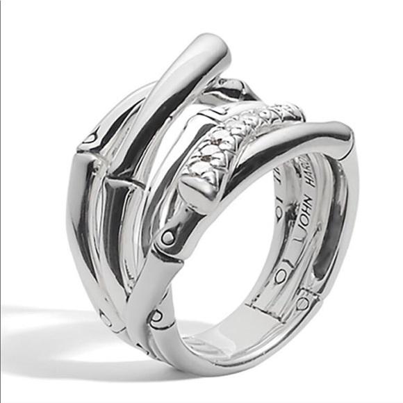 JOHN HARDY 925 Silver Bamboo Pave Diamond Ring